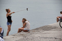 Selfie Solitude (Ktoine) Tags: selfie stick girls friends crimea russia legs holiday summer sea ego egocentrism selfish