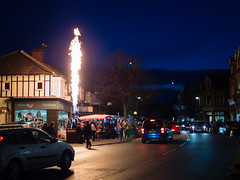 All fired up and nowhere to go (wi-fli) Tags: bristol england unitedkingdom henleaze christmasfair street fire burner hotairballoon basket bs9 christmas bonkers unexpected flame