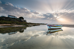 Daybreak colour (rdserra) Tags: sea sun portugal water clouds sunrise canon landscape eos boat algarve 1020 riaformosa 70d sgima