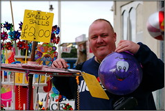 Look what Ian's got ! (* RICHARD M) Tags: street friends portraits ian fun seaside lol smiles photographers balls humour portraiture resorts southport phew risque wordplay togs playonwords merseyside doubleentendre streetportraits sefton giftshops flickrites streetportraiture ianhughes smellyballs seasideresorts mensproblems raucushumour