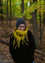 Autumn Days (Gerald Cuffe) Tags: park autumn trees portrait woman black color tree fall colors girl leaves yellow lady scarf 35mm word lens fun leaf sweater woods nikon pretty day g parks days nike adventure jacket recreation f18 18 northface beanie len d7k d7000