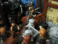 LoM UC: 10 (Micah the Fire-Breathing Hobbit) Tags: city roof horse statue wall soldier army riot hand lego stonework crowd medieval tudor cobblestone story fantasy hood cloak tale lom warg grueling