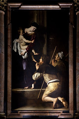 Madonna dei Pellegrini by Caravaggio at Church of St Augustine (Mikey Down Under) Tags: italy rome roma church staugustine caravaggio painting chiesa campo marzio madonna dei pellegrini