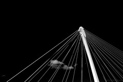 When you and sleep escape me (OR_U) Tags: 2016 oru france strasbourg bridge black white abstract gull bw blackandwhite blackwhite schwarzweiss minimal minimalism katebush wire cloud contrast lines