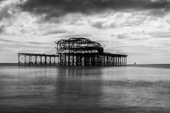 West Pier (scarlet-pimp) Tags: grade1 decay pier brighton nd mono eugeniusbirch canon5d clouds nd10 brightonbeach westpier monochrome 1635mm beach longexposure nikcollection sky filter silverefexpro2 blackandwhite abandoned eastsussex england unitedkingdom gb