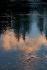 Reflection on Impressionism #1 (emiliano.galati) Tags: 100d vacanze banff 2015 canon canada canon100d 2016 september evening stage calm relax holiday sky cloud sunset lovers allaperto cielo baia acqua bagnasciuga paesaggio mare spiaggia calma nuvola bridge albero alberi tree impressionism reflection river