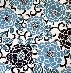 Kyoto yuzen washi 10 (tengds) Tags: handmadepaper japanesepaper yuzenwashi kyotoyuzen washi chiyogami flowers chrysanthemum leaves blue white black tengds