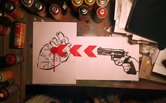 What's the song? (cryptic stencilling edition) (id-iom) Tags: art arts brixton cans cool cryptic england gun heart idiom london paint paper shoot spray spraypaint stencil uk urban