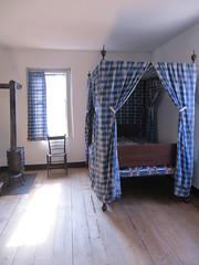 Blue canopy bed (Joel Abroad) Tags: oldsalem northcarolina johnvogler silversmith watchmaker house workshop canopy bed