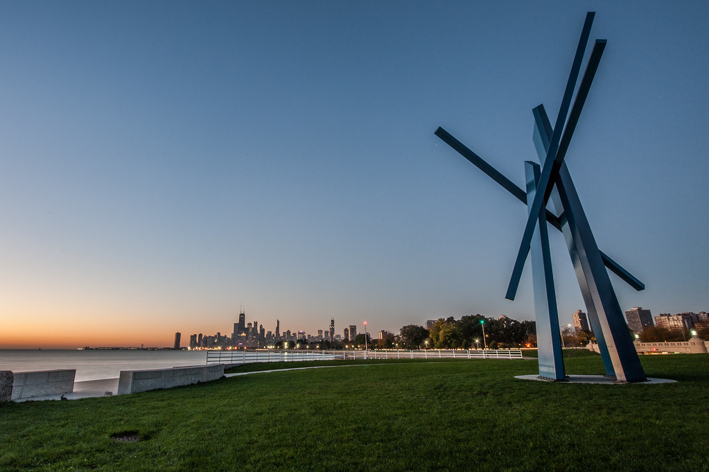The controversial Chevron statue along Chicago's Lakefront.