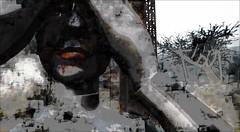 I am not you (Bamboo Barnes - Artist.Com) Tags: bamboobarnes digitalart painting photo vivid red secondlife monochrome black grey blue face surreal tower