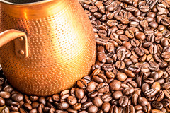 Coffee roasted beans with Cezve (mikhafff1984) Tags: bean black background closeup roast mocha natural pot coffee brown drink break arabica roasted brew abstract dark espresso texture color pattern food freshness