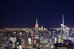 Top of the Rock (Georgie.H) Tags: newyork ny america city cityscape night buildings empirestatebuilding topoftherock r rockefeller stars