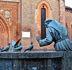 San Francesco (SoleTempesta) Tags: sanfrancesco statua piccioni vigevano pavia sensibilit amore animali uomo chiesa mattoni soletempesta