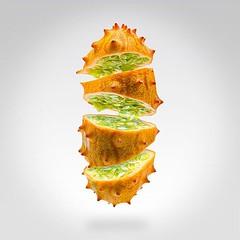 Flying Kiwano   https://society6.com/mgvphoto  #flying #food #art #photography #surrealism #photoshop #kiwano #hornedmelon