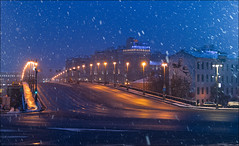 Russia. Moscow. View on the Big Stone Bridge. (Yuri Degtyarev) Tags: russia russian federation winter snowfall city capital big stone bridge night blue hour cityscape leica x vario moscow moscou moskau moskva россия город столица москва большой каменный мост снегопад снег snow ночь