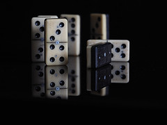Dominoes (PrunellaCara) Tags: dominoes stilllife blackandwhite reflections games dots fun objects