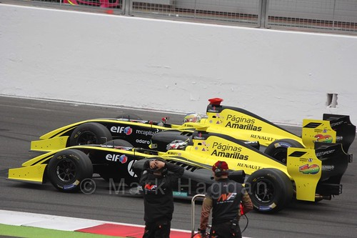 Philo Paz Patrick Armand and William Bratt on the Grid for the Formula Renault 3.5 Saturday Race at Silverstone