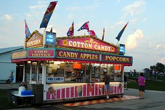 Cotton Candy, Candy Apples & Popcorn (Cragin Spring) Tags: summer sky usa wisconsin clouds rural unitedstates dusk unitedstatesofamerica fair popcorn cottoncandy countyfair wi elkhorn concession candyapples 2015 walworthcountyfair elkhornwi walworthcounty elkhornwisconsin