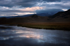 Flat Creek Sunset (laura's Point of View) Tags: autumn sunset storm mountains fall nature creek river stream dusk jackson wyoming jacksonhole flatcreek lauraspointofview lauraspov nationelkrefuge