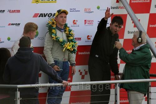 Series champion Aaron Thompson interviewed at the Fiesta Junior Championship, Brands Hatch, 2015