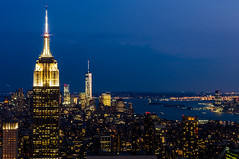 Empire State Building at night, Manhattan, New York (Vincent Lammin) Tags: nyc newyorkcity usa newyork rooftop night buildings us downtown view skyscrapers manhattan rockefellercenter empirestatebuilding empirestate topoftherock libertyisland eastcoast tatsunis freedomtower oneworldtradecenter