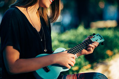 A girl and her ukulele (Le Minh Tuan) Tags: blue autumn portrait music playing fall colors girl smile fun happy colours ukulele cyan musical instrument havefun havingfun