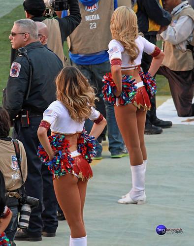 Redskinette Cheerleaders watch the play.