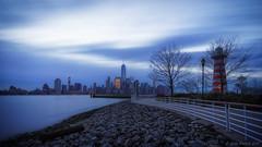 Morning Blues (iShootPics) Tags: new york city longexposure morning blue newyork jerseycity moody cityscape hour jersey wtc bluehour sonya7 sel1635z
