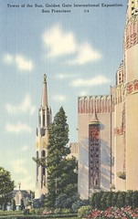 Tower of the Sun - 1939 Golden Gate International Exposition - San Francisco, California (The Cardboard America Archives) Tags: sanfrancisco california vintage expo postcard 1939 worldsfair