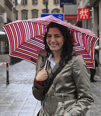 Beautiful girl in satin Trench (betrenchcoated) Tags: beautiful rain umbrella shiny trench trenchcoat satin raincoat beautifulgirl