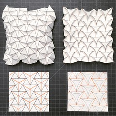 Ron Resch tessellation and curved version (mike.tanis) Tags: art architecture paper design triangle origami tessellation papercraft ronresch