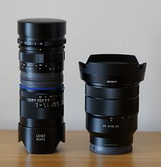 12mm Voigtlander E + 21mm Loxia + 16-35mm Sony hoods up (Barry Haines) Tags: voigtlander ultra wideheliar 12mm f56 iii sony a7rii 1635mm fe fa f4 21mm zeiss loxia f28