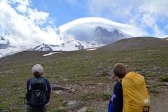 Watching the Mountain (Sotosoroto) Tags: dayhike hiking mtrainier burroughsmountain cascades washington mountains cloud