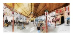 Figeac - France - les halles (guymoll) Tags: figeac halles france croquis sketch watercolour watercolor aquarelle