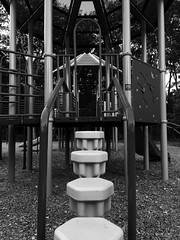 Day at the playground (nikitalesnik) Tags: grayscale white black steps slide park playground phone iphone6 iphone