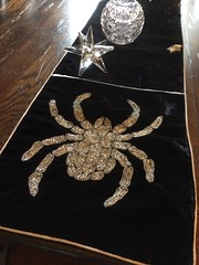 SPIDERS AND SPIRITS (Cabinet of Old Secret Loves) Tags: spider silver beaded beads velvet black runner table home decor halloween hallows eve homesense star crystal bowl witch room spooky haunted haunt haunting