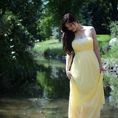Girl in yellow dress (JiggieSmalls) Tags: nature shy smile green river lake dress yellow portrait