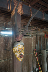 Horned devil mask (quinet) Tags: 2015 aborigène borneo iban malaysia sarawak sarawakculturalvillage ureinwohner aboriginal native kuching