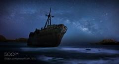 The boat (PhiladelphiaHVAC165) Tags: sky lake sea sunset water beach greece travel night sun light clouds italy rocks summer stars seascape long exposure milky way rhodes
