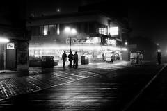 pizza in the fog (rosserx) Tags: atlanticcity nj newjersey boardwalk pizza night fog outdoors blackandwhite