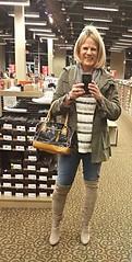 OTK boots (krislagreen) Tags: tg tgirl transgender cd crossdress jeans otkboots boots tunic jacket blond taupe gray femme feminized feminization xdresser