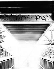 Do Not Pass... (miroslav.tokarsky) Tags: pentax pentaxart pentax35mm bw blackwhite black white urban bridge light step mystery mood moody art bestshotoftheday magic magicmoment abandoned