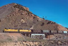Westbound approaching Echo Junction, March 26, 1986 (blair.kooistra) Tags: unionpacific gp30 parkcity webercanyon ogden echo utah utahrailroads branchlinerailroads
