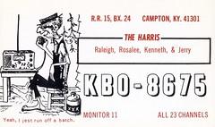 The Harris' - Campton, Kentucky (73sand88s by Cardboard America) Tags: qsl qslcard cb cbradio vintage hillbilly kentucky