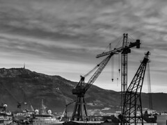 """It's a jungle out there..."" (Terje Helberg Photography) Tags: bw blackandwhite bnw boat bt cloud clouds cloudscape coast coastal coastalenvironement crane cranes hook industry monochrome mountain ship silhouette silhouettes skyscape ulriken wire wires"