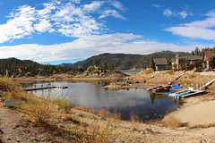 Lake Getting Low (daveynin) Tags: drought dry lake boulders dock water california boat canoe