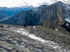 Mt Yamnuska Summit Scramble - Fellow hikers descending from the summit (benlarhome) Tags: yamnuska exshaw alberta canada scramble scrambling hike hiking trail path
