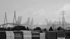 Regentag (Andreas Meese) Tags: hamburg hafen wilhelmsburg nikon d5100 kran krne crane cranes khlbrandbrcke regen rain rainy regentag wolken clouds wolkig cloudy
