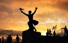 Budapest Statue (ttrendell) Tags: hungary budapest statue sunset orange sillouette canon 50mm 5dmk2 landscape tourist